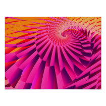 Rosy Dawn Abstract Modern Fractal Art Poster