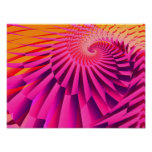 Rosy Dawn Abstract Modern Fractal Art Posters