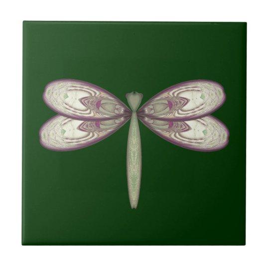 Rosy Nouveau Dragonfly Ceramic Tile