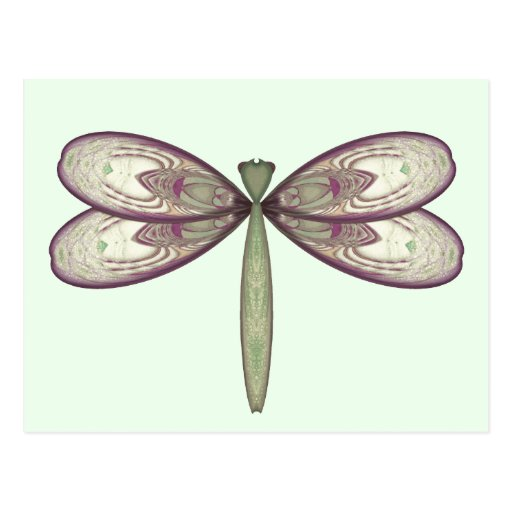 Rosy Nouveau Dragonfly Post Card