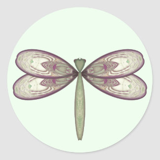 Rosy Nouveau Dragonfly Classic Round Sticker