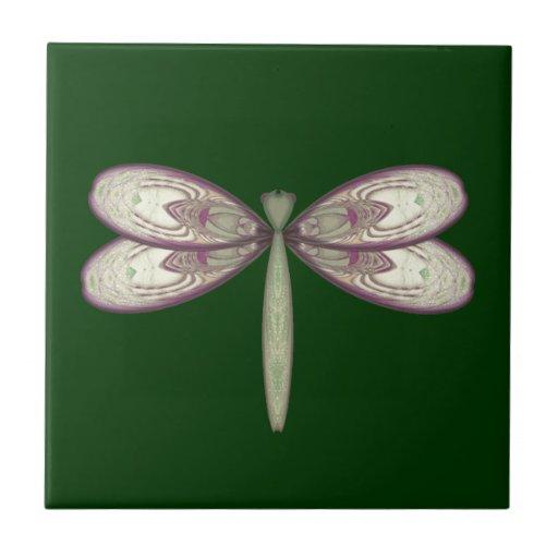 Rosy Nouveau Dragonfly Ceramic Tiles