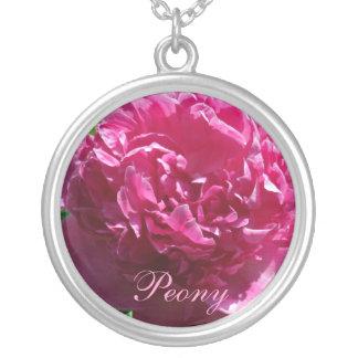 Rosy Peony Round Pendant Necklace