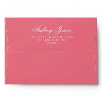Rosy Pink A7 Pre-Addressed Linen Envelopes