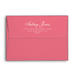 Rosy Pink A7 Pre-Addressed Linen Envelopes