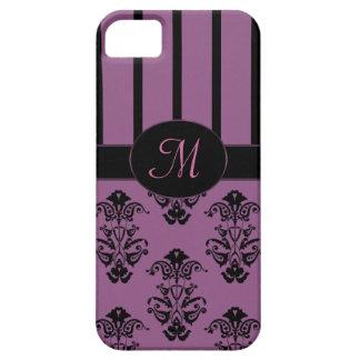 Rosy Pink & Black Baroque Stripes Monogram iPhone SE/5/5s Case