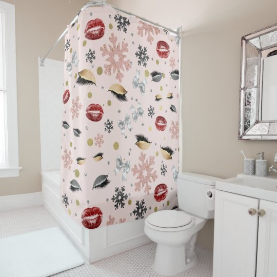 Christmas Shower Curtain.Rosy Pink Girly Beauty Makeup Holiday Christmas Shower Curtain