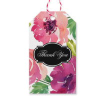 Rosy Pink Watercolor Floral Thank You Gift Tags