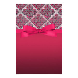 Rosy Red Embossed Damask Wedding Shimmer Stationery