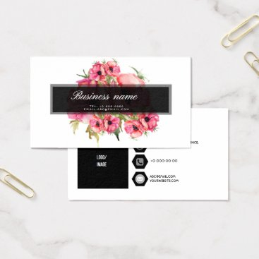 Professional Business Rosy Red Watercolor Flowers Elegant Business Card