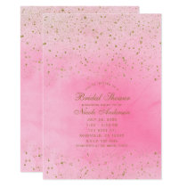 Rosy Rose Pink & Gold Glitter Bridal Shower Invitation