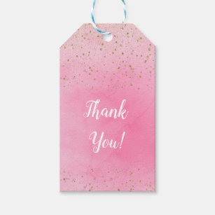 fb0253c5290b0 Rosy Rose Pink & Gold Glitter Glam Sparkly Chic Gift Tags
