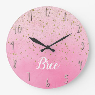 Rosy Rose Pink & Gold Glitter Glam Sparkly Chic Large Clock