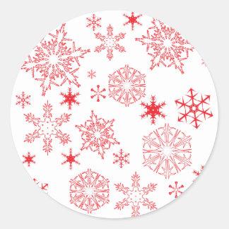 Rosy Snowflakes Classic Round Sticker