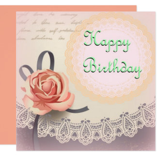 Rosy Vintage Birthday Card