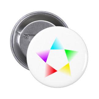 Rotación multicolora de la H-Estrella Pin Redondo De 2 Pulgadas