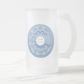 Rotary Faux -blu Frosted Glass Beer Mug