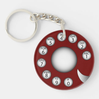 Rotary Phone Dial (Red) Keychain