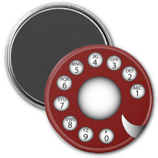 Rotary Phone Dial (Red) Refrigerator Magnet