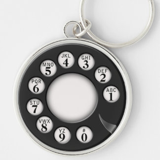 Rotary Phone Dial Silver-Colored Round Keychain
