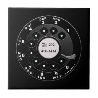 Rotary Phone Dial Small Square Tile