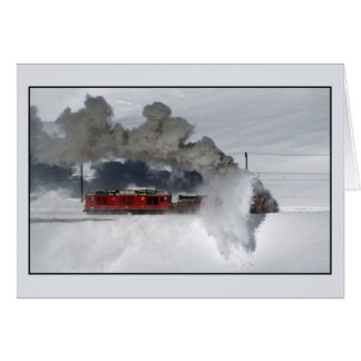 Rotary snowplow, Bernina Line, Switzerland Card