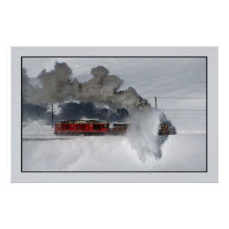 Rotary snowplow, Bernina Line, Switzerland Poster