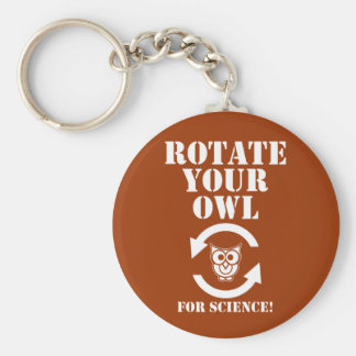 Rotate Your Owl Basic Round Button Keychain