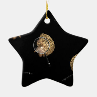 Rotating Brains with Magnifyer Ceramic Ornament