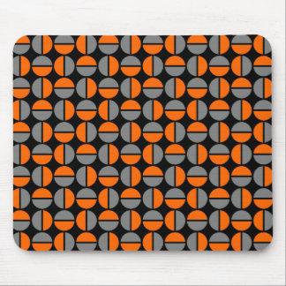 Rotating Circles - Orange and Gray on Black Mouse Pad