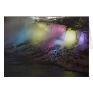 Rotating colored light display on American Falls Card