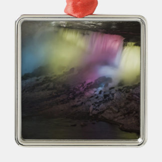 Rotating colored light display on American Falls Metal Ornament