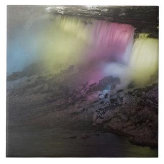 Rotating colored light display on American Falls Tile