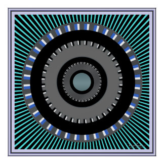 Rotating Gears Wheel Optical Illusion Poster