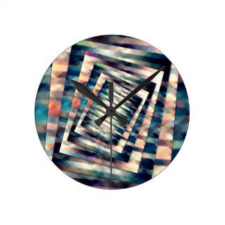 Rotating Grunge Rectangle Round Clock