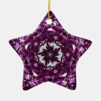 Rotating Pink ribbon star Ceramic Ornament