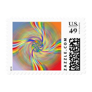 Rotating Rainbow Postage Stamps