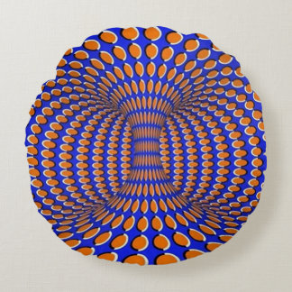 Rotating Vortex Optical Illusion Round Pillow