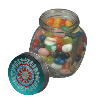 Rotations Glass Candy Jar w/Tin Top & Jelly Beans