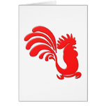 roter Hahn red rooster Karte