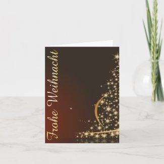Rotes Weihnachtsmotiv mit goldenem Weihnachtsbaum Card