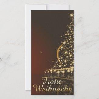 Rotes Weihnachtsmotiv mit goldenem Weihnachtsbaum Holiday Card