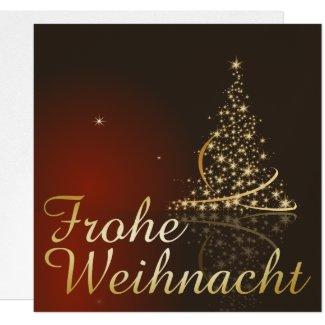 Rotes Weihnachtsmotiv mit goldenem Weihnachtsbaum Invitation