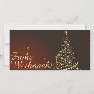 Rotes Weihnachtsmotiv mit goldenem Weihnachtsbaum