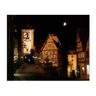 Rothenburg Alemania en claro de luna Tarjetas Postales