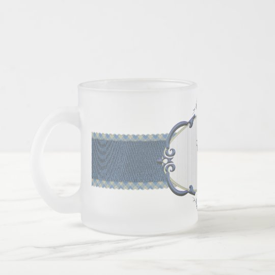 Rothenburg Blue Monogram-Letter E Frosted Glass Coffee Mug