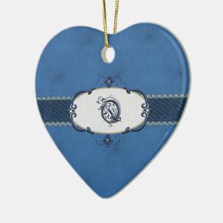 Rothenburg Blue Monogram-Letter Q Ceramic Ornament