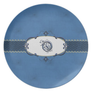 Rothenburg Blue Monogram-Letter Q Dinner Plate