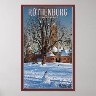 Rothenburg Burgtor and Snowman Print