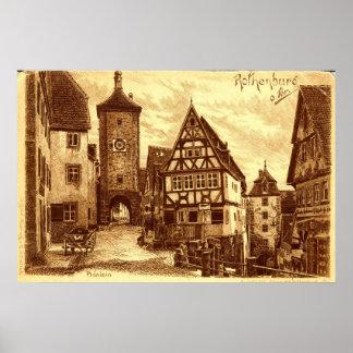 Rothenburg Germany 1907 vintage Posters